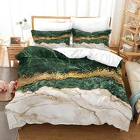 Bedding Sets Marble Digital Printing Printed Set Simple Black And Gold Stripe Down Quilt Pillowcase Home Textile