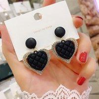 Dangle & Chandelier Korean Fashion Temperament Simple Rhombus Zircon Heart Drop Earrings For Women Girl All Match Party Gorgeous Jewelry LS6