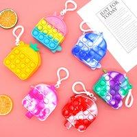 Rainbow Push Bubble Borsia Silicone Coin Case Macaron Color Pop Bubbles Gelato Shape Portafoglio con portachiavi Puzzle sensoriale Puzzle sensoriale Giocattoli 9 Stile