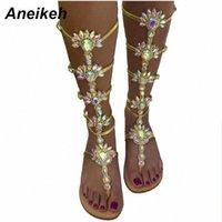 Aneikeh genou botculle bracelet plate boucle platelle bottes de sandale gladiateur été strass femme chaussures chaussures Bohême style cristal chaussure chaussures chaussures nues sho p6ax #