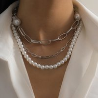 Темперамент барокко-образной формы имитационные жемчужные цепи ожерелья ретро хип-хоп Геометрический крест цепи ключицей цепь на вечеринке элегантное простое ожерелье подарок ювелирных изделий