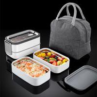 Doppelschicht-Lunchbox Tragbare Edelstahl Umweltfreundliche isolierte Lebensmittelbehälteraufbewahrung Bento-Boxen mit Warmbeutel Zze5611