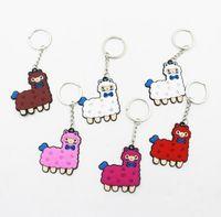 Mixed Color Cute PVC Alpaca Sheep Alloy Key Chain Handbag Pendant Charm Keyring Gifts GWB7870