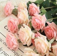 ترطيب الورود الاصطناعي زهرة diy روز العروس باقة وهمية الزهور المزيفة لحضور الزفاف الديكور حزب الديكورات المنزلية عيد الحب DHB6100