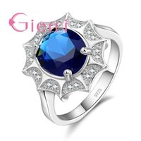 Cluster Rings 5 Color Choose Exaggerate Shiny Sun Flower Crystal For Women Female 925 Sterling Silver Wedding Bridal Jewelry