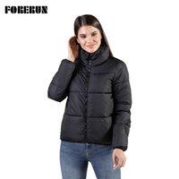 Forerun 8 Renkler Boy Kabarcık Ceket Kadın Kış Kirpi Ceket Standı Yaka Nane Yeşil Kalınlaşmak Parka Winterjas Dames 210923