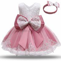 Bloem meisjes jurken grote boog kant prinses jurk baby kinderen gaas feest kleding eerste verjaardag baljurk A6650