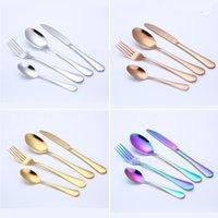 Cutlery Sets Stainless Steel Tableware Western Dinnerware Fork Spoon Steak Travel Dinnerware Set 4 Colors 4Pcs Set GYL94