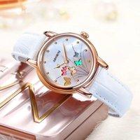 Armbanduhren 2021 Mode Schmetterlingsuhr Frauen Leder Quarz Rose Gold Damen Wasserdichte Relogio Feminino Montre Femme