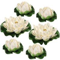 Decorative Flowers & Wreaths WINOMO 6pcs Artificial Pond Plants Lotus Simulation Floating Flower Fish Tank Decor Ornaments White