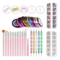 Nail Art Kits Brushes Set:Striping Tape Stickers Rhinestones Decoration Box Dotting Manicure Tools Kit For DIY Design#TB02