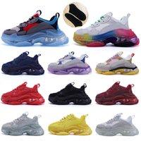 Antigo pai 17fw sapatos casuais Baixo plataforma Sapatilhas Balencaiga Triple S Mens Preto Mens Mulheres Cushion Designer Chaussures K48m #