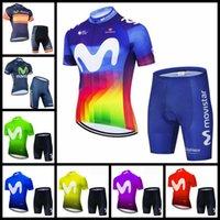 Movistar 팀 사이클링 반팔 저지 여름 산악 자전거 키트 통기성 빠른 건조한 남자 레이싱 셔츠 반바지 세트 H051201
