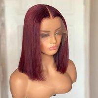 Synthetische Perücken Burgund-Spitze-Frontperücke für schwarze Frauen stumpfes Kurzschnitt Bob Glueless Hitzebeständiges gerades weiches Baby-Haar vorbereitet