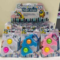 Fidget Simple Dimple Игрушки Брелок Детские Взрослые Декомпрессионные Пальцы Пузырь Стресс Шарики Давление Единорога Детская Игрушка Игрушка Key Ring H48Hech