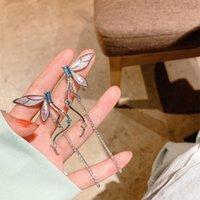 Dangle & Chandelier Minar Temperament Colorful Simulation Wing Long Tassel Earrings For Women Shiny Rhinestones Butterfly Drop Oorbellen