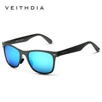 Veithdia الألومنيوم المغنيسيوم أزياء رجالية مرآة نظارات الشمس أحشاء النظارات الإناث / الذكور الملحقات النظارات الشمسية للنساء / الرجال