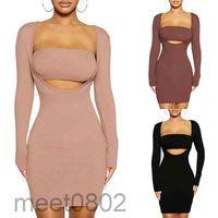 2021 Casual Dresses Imbute Kleid Set feste Farbe langärmlig eng anliegend + umwickelte Brust zweiteilig sexy Quadrat-Hals Slim-Fit HIP A7809