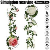 Decorative Flowers & Wreaths 2m Artificial Rose Vine Hanging For Wall Decoration Rattan Fake Plants Leaves Garland Romantic Wedding Home Dec