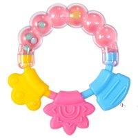 سيليكون الأسنان الصمغ التسنين اللفائف الدائري الدائري الطفل خشخيشات عض لعبة طفل لطيف الرضع جرس الجملة مولي قضيب OWC7325