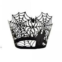 Spiderweb الليزر قطع ورقة كعكة كعكة مغلفة أكراف الحالات الخبز كأس حالة الزفاف عيد حزب ديكور owb8856