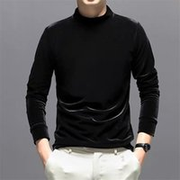 벨벳 2020 봄 가을 남자 긴 소매 터틀넥 벨벳 사무실 탑스 패션 streetwear 티셔츠 M-7XL