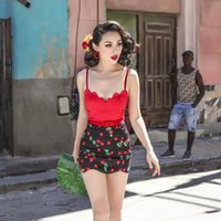 Women's Jumpsuits & Rompers 40- Summer Women Vintage Sweetheart Cherry Playsuit In Black Plus Size Macacao Sexy