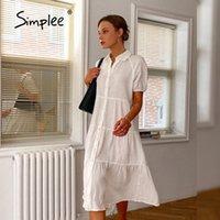 Simplee Rousal Split Colden Однобортное длинное платье с короткими рукавами Белая летняя женщина досуг удобный 2021 повседневные платья