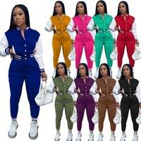 Lady Giacche da due pezzi Pantaloni Set Set Abiti a striscia per le donne Sweatsuit Desinger Tracksuit Sport Joggers Vestito 2 PC Abbigliamento