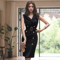 Kadın Yaz Ofis Lady Kebli Vestidos Kolsuz Çalışmak Ince Çift Düğme Seksi Kore Moda Stil Elbise Giysileri MX190727