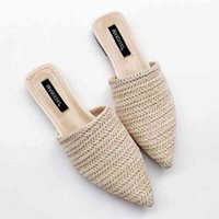 Womens Slippers Fashionable Short Sleeve Braided Mule Flat Sole Slide Summer Beach Skiing Without Shoelaces Z40P#_hip
