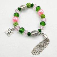 Beaded, Strands Hand Made Greek Sorority Elastic Line Pink Green Crystal Pearl Letter Love Charm Tassel Bracelet Women Jewelry