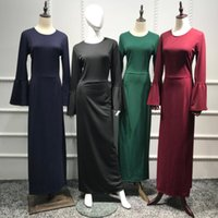 Plus Size Vestidos Longo 2021 Winter Abaya Muslim Women Long Flare Sleeve Maxi Bodycon Hijab Dress Clothes Robe Femme Elbise