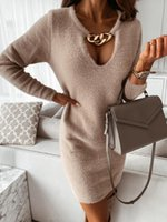 Party Dresses Spring Autumn Women's V Neck With Gold Chain Solid Straight Dress 2021 Long Sleeve Thicken Knitted Vestidos WDC6293
