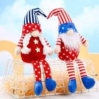 Party Dekoration Patriotische Veteranen Tag Tomte Gnome Dekorationen Handgemachte Sterne Plüsch Puppe Schwedische Ornamente 4. Juli Geschenk FWB6085