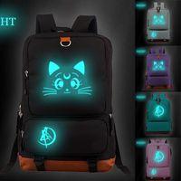 Animation Beautiful Girl Peripheral Design Luminous Backpack Korean Leisure Student Schoolbag Travel Computer