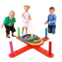 Hoop Yüzük Toss Plastik Yüzük Toss Quoits Bahçe Oyunu Havuz Oyuncak Açık Eğlence Seti Çocuk Interaktif Eğitici Oyuncaklar Evde