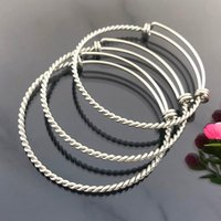 Bangle 2Pcs lot Stainless Steel Twist Bracelet Adjustable Bracelets For Jewelry Making Accessories Men Women Supplies Wholesale
