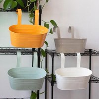 1 pcs colorido pendurado potes de flor de metal balcão jardim plantador planta com gancho destacável para vasos de decoração de casa