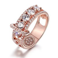Cluster Rings Rose Gold S925 Sterling Silver Color Charm Ring With Big Zircon Stone Wedding Engagement For Women Fashion Jewelry 2021