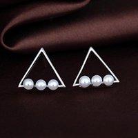 Stud Simple Moda Personalidad Tendencia Triángulo Geometría Pendientes de perlas con la joyería fina para las mujeres