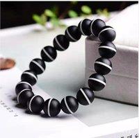 Natural black and white two-tone Buddha beads jade beaded bracelet free ship ping