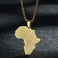 Anhänger Halsketten Kreative Afrika Karte Afrikanische Halskette Edelstahl Männer Schmuck Goldene Alte Land Geburtstagsgeschenk