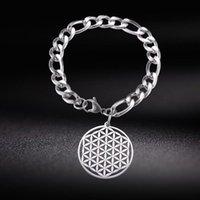Skyrim Stainless Steel Flower Of Life Charm Bracelet Viking Amulet Jewelry Men Women Figaro Chain Bangle Bracelets Gift 2021 Link,