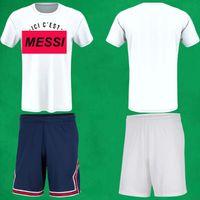 2021 2022 Erkek Messi Futbol Şort Messi'nin ICI C'est T-Shirt 21 22 Mbappe Hakimi Sergio Ramos Uzakta Beyaz Ev Mavi Paris Futbol Pantolon Boyut S - 2XL