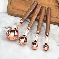 New4PCS / Set Rose Gold Measuring Spoons Scoop Walnut Handle Wooden Kitchen Tool Plating EWF7628
