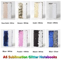 8 Colors! Sublimation A6 Glitter Notebooks with Inner Dowling Papers Heat Transfer Printing Reversible Sequins Binders Mermaid Dairy Notebook DIY Memos Stationery