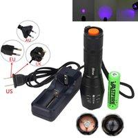 Leistungsstarke UV-Ultra-LED-Jagd-Light-taktische violette lila Blacklight 395NM wasserdichte Taschenlampe Inspektionslampe + 18650 + Ladegerät Taschenlampen Fackel