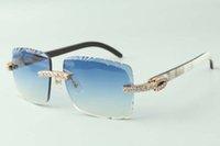 2021 عدسة قطع العدسات XL الماس النظارات الشمسية 3524020، الطبيعية الهجينة الجاموس أقرن أوراب النظارات، الحجم: 58-18-140mm