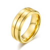 Polished Affordable Party Jewelry (6 pieces lot) Groove Shape Man Ring Single Stainless Steel 8mm Gold Color